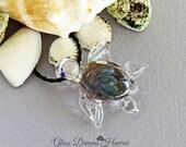Glass Sea Turtle Pendant, Boro Glass Turtle, Hawaiian Honu Pendant, Handmade Lampwork, Good Luck Symbol, Braided Leather Cord