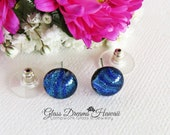 Stylish Glass Stud Earrings, Shades of Azure Blue, Fused Dichroic Glass Studs, Hawaii Handmade, Wardrobe Friendly Earrings, Fashion Studs
