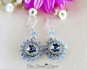 Stylish Crystal Rivoli Dangle Earrings, Beaded Bezel Crystal Earrings, Swarovski Crystal Drop Earrings, Light Sapphire, Bridal Jewelry