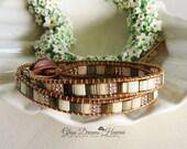 Beaded Leather Wrap Bracelet, Double Wrap Tila Bead Bracelet, Chan Luu Style Bracelet, BOHO Beaded Leather Bracelet, Adjustable Bracelet