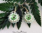 Swarovski Crystal Rivoli Dangle Earrings, Peridot Swarovski Crystal Earrings, Beaded Bezel Rivoli Earrings, Crystal Drop Earrings