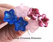 Lampwork Glass Headpins (6), Handmade Glass Bellflower Headpins, Hawaii Lampwork Glass, Colorful Glass Flower Headpins, Jewelry Supplies