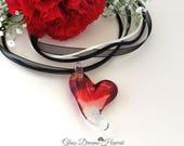 Glass Heart Necklace, Valentine Glass Heart Pendant, Handmade Lampwork Heart Pendant, Borosilicate Glass Heart,  Romantic Heart Necklace