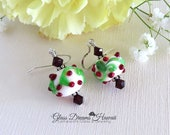Christmas Dangle Earrings, Handmade Lampwork Jewelry, Festive Holiday Earrings, Swarovski Crystals, Sterling Silver, Gifts For Her