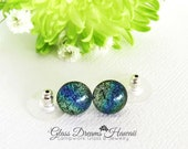 Dazzling Glass Stud Earrings, Dichroic Glass Jewelry, Hawaii Handmade, Multi Toned Hues, Fused Glass Studs, Fashionable Studs
