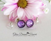 Shimmering Glass Stud Earrings, Fused Glass Earrings, Dichroic Glass Jewelry, Sparkling Fuchsia Studs, Hawaii Handmade Jewelry