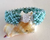 Beaded Single Wrap Bracelet, Super Duo Bead Bracelet, Handmade, Light and Dark Turquoise, Seed Bead Picot Trim, Silver Box Clasp