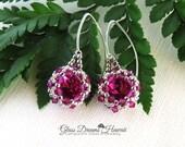 Swarovski Crystal Rivoli Dangle Earrings, Beaded Bezel Rivoli Earrings, Fuchsia Crystal Rivoli Earrings, Arched Fancy Ear Wires