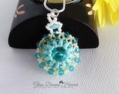 Crystal Rivoli Beaded Pendant, Swarovski Crystals Pendant, Seafoam Super Duo Beads, Beaded Bezel Rivoli , Light Turquoise Pendant