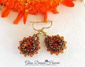 Fashionable Crystal Dangle Earrings, Swarovski Tangerine Crystals. Beaded Bezel Crystal Rivolis, Crystal Drop Earrings, Bronze Seed Beads