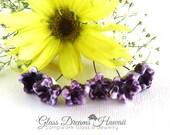 Lampwork Glass Headpins (6), Handmade Glass Bellflower Headpins, Hawaii Lampwork Glass, Purple Glass Flower Headpins, Jewelry Findings
