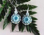 Beaded Swarovski Rivoli Dangle Earrings, Swarovski Crystal Light Turquoise Rivolis, Beaded Bezel Drop Earrings, Sterling Silver Ear Wires