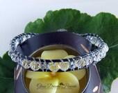 Beaded Leather Wrap Bracelet, Single Wrap Bracelet, Clear Crystal Beads, Stackable Bracelet, Popular Style, BOHO Beaded Leather Bracelet