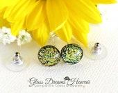 Shimmering Glass Stud Earrings, Dichroic Glass Stud Earrings, Fused Glass Studs, Sparkling Gold Glass, Hawaii Handmade, Timeless Studs
