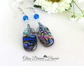 Art Glass Dangle Earrings, Fused Glass Earrings, Confetti Dichroic Glass, Hawaii Handmade, Sterling Silver Findings, Fashion Earrings