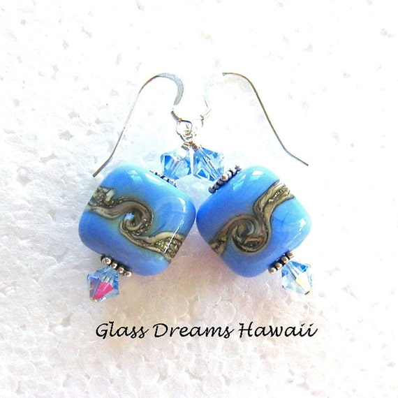 Blue Artisan Lampwork Glass and Sterling Silver Earrings