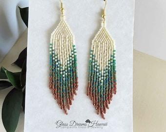 Seed Bead Fringe Earrings, Cascade Beaded Dangle Earrings, Shoulder Duster Earrings, Handwoven, Fashion Earrings, Light as a Feather