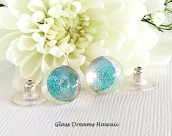 Iridescent Glass Stud Earrings – Fused Glass Jewelry - Hawaii Handmade – Dichroic Glass Jewelry – Fashion Earrings
