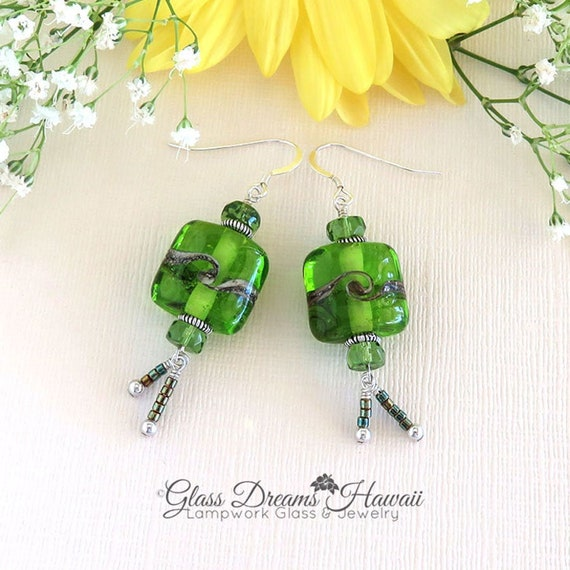 Bohemian Silver Dangle Earrings with Glass Bead Accents