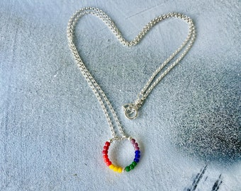 Love is Love Necklace, Pride Necklace, Rainbow Circle Necklace