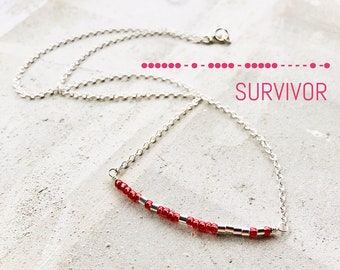 Breast Cancer Necklace, Morse Code Necklace, Custom Morse Code Necklace, Gift For Her, Survivor Necklace, Gift for Friend