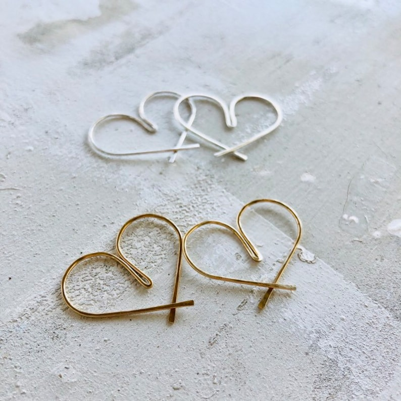 b6c542d9b Wire Heart Earrings Dainty Wire Heart Earrings Silver Heart | Etsy