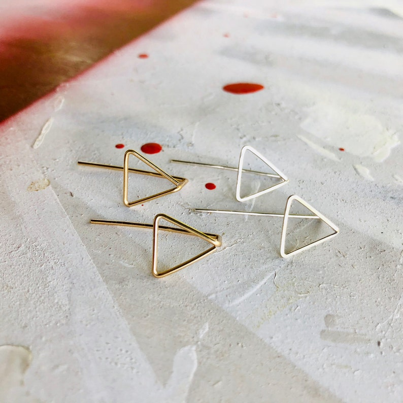 Triangle Earrings Gold Triangle Earrings Silver Triangle image 0