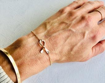 Awareness Ribbon Bracelet, Awareness Ribbon Anklet, Breast Cancer Ribbon Bracelet, Silver Ribbon Bracelet, Gold Ribbon Bracelet