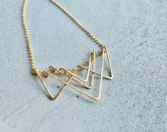 Layered Triangle Necklace, Triangle Bib Necklace, Layered Chevron Necklace