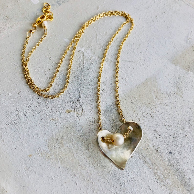 Heart Necklace Abstract Heart Necklace Heart and Pearl image 0