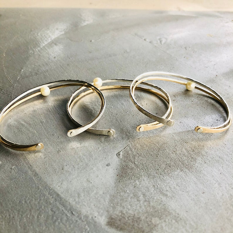 Two Wire Cuff Bracelet with Pearl Gold Cuff Bracelet with Pearl Silver Cuff Bracelet with Pearl Mixed Metal Cuff Bracelet