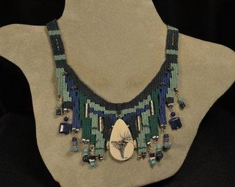 Scrimshaw Blue Woven Necklace 863