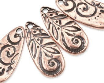Antique Copper Charms TierraCast JARDIN TEARDROP Charms 10mm x 22mm Copper Pendant for Bohemian Jewelry Making Swirls and Vines Plants P1765