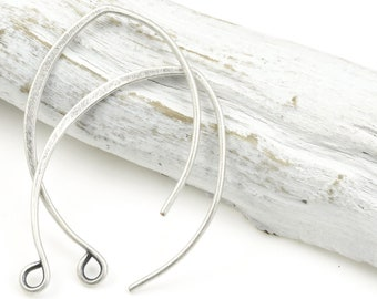 6 or more Antique Silver Earring Wires - Tall Fancy Hammered Elongated Ear Findings  - 33mm Tall Silver Plated Ear Hooks by Nunn Design