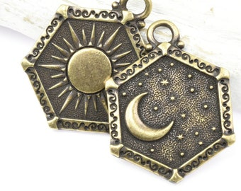 Sun and Moon Pendant - Antique Brass Pendant - TierraCast Celestial Collection - 21.5mm x 28.5mm Rerversible Double Sided Pendant (P1781)