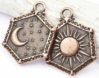 Sun and Moon Pendant - Antique Copper Pendant - TierraCast Celestial Collection - 21.5mm x 28.5mm Rerversible Double Sided Pendant (P1782)