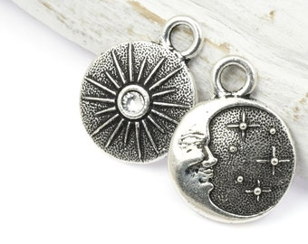 Antique Silver Charm - TierraCast Starry Night Dual Sided Charm Set With Clear Crystal - 15mm x 19mm Celestial Moon Face and Stars (P1791)