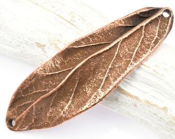 "2"" Antique Copper Leaf Link - Double Hole Large Leaf Bracelet Link - 3 Dimensional 50mm Centerpiece for Autumn Fall Jewelry"