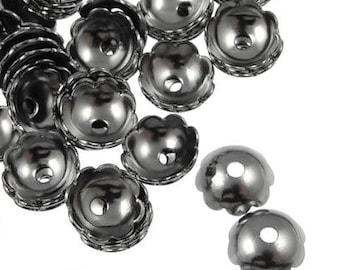 144 Gunmetal Bead Cap 6mm Smooth Polished Dome Gunmetal Beadcaps Gun Metal Beads (FSGM77)