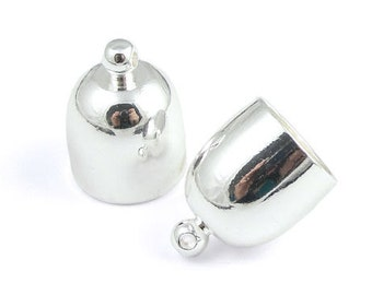 12 Large Silver Kumihimo End Caps 12mm x 16mm 10mm Internal Diameter Bullet Kumihimo Caps Cord Ends Bulk Bag (KH52)