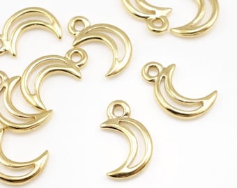 Crescent Moon Charms TierraCast Bright Gold Open Drop 13mm X 8mm P96