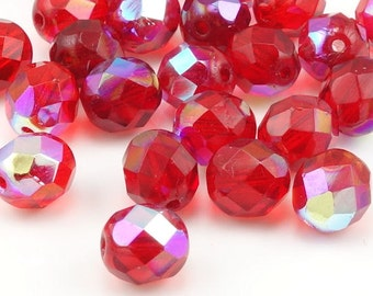 Siam//Ruby AB 25 7x5 mm Czech Glass Firepolish Teardrops