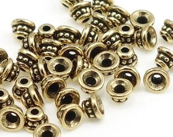 50 Antique Brass Beadcaps 4mm TierraCast BEADED Beadcap Brass Oxide Brass Bead Caps Tierra Cast Pewter Bronze Beadcaps Small Tiny PC191