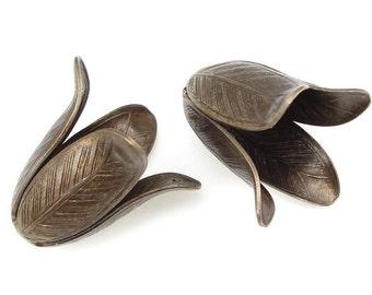 15pc antique silver finish metal flower bead cap-472