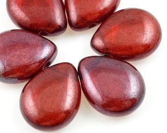 Wine Red Pendant Beads 16mm x 12mm Czech Pressed Glass Teardrop Bead Hyacinth Bronze Vega Tear Drop Pear Shaped Briolette Beads Crimson Red