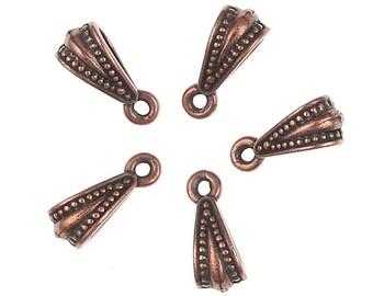 5 Necklace Bails - Antique Copper Bails - TierraCast ROYAL BAIL - Pendant Bail Findings - Copper Findings (PF363B)