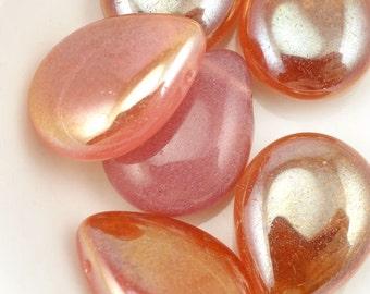 MILKY PINK CELSIAN Briolettes Czech Glass Teardrop Briolette Beads - 16mm x 12mm Pressed Glass Blush Rose Pink Beads