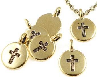 Gold Cross Pendant Small Antique Gold Cross Charm by TierraCast Pewter Gold Pendant Gold Charm  (P1239)
