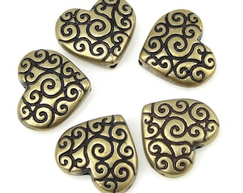 Antique Brass Heart Beads Brass Puffy Hearts for Valentine's Day Jewelry Making TierraCast Scroll Heart Beads Bronze Beads  (PA36)