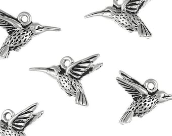Silver Hummingbird Charms - TierraCast HUMMINGBIRD DROP - Antique Silver Charms - Humming Bird Spring Summer Jewelry Supplies (P219)